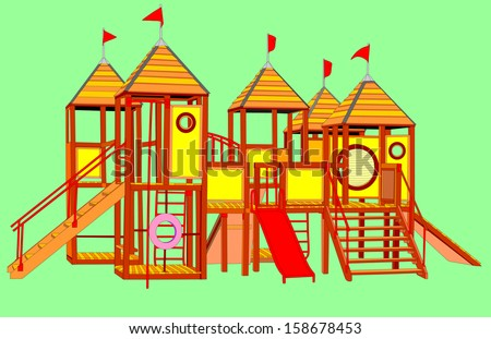 Wooden castle vector. Children playground illustration isolated on green background.  - stock vector