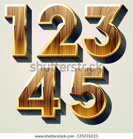 Wooden characters set with gold frame. Numbers 1-5 - stock vector