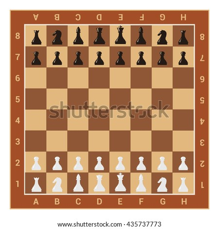 wooden chess board table and figures. vector illustration - stock vector