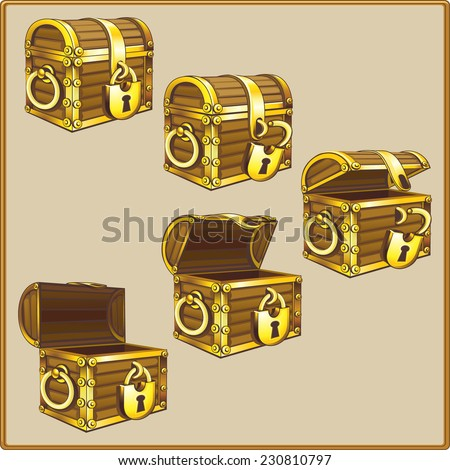 Wooden chest with gold trim. Five positions. - stock vector