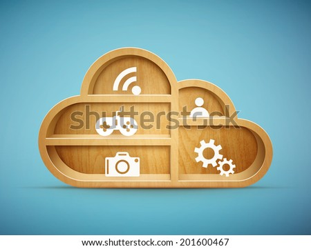wooden cloud shelf with icons eps10 vector illustration - stock vector