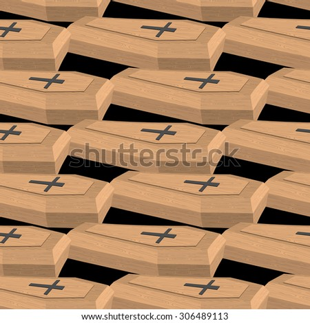 Wooden coffins seamless pattern. Vector background cemetery