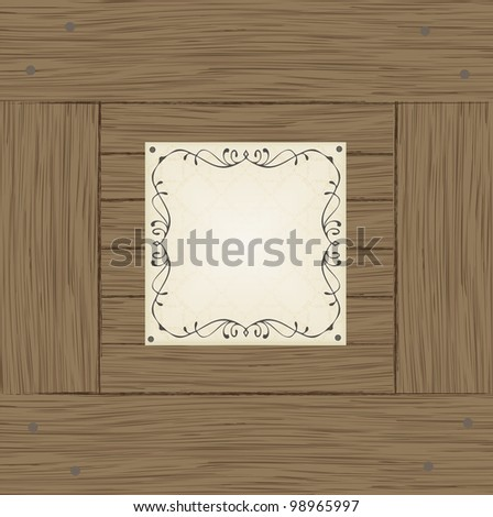 Wooden crate or box one side with note vector background - stock vector