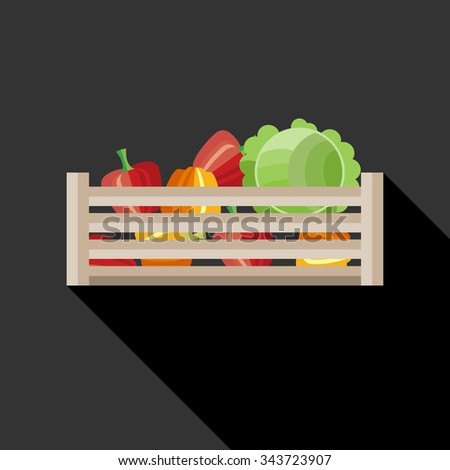 Wooden crate with pepper and cabbage. Flat style vector illustration. - stock vector