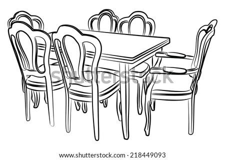 Stock Vector Silhouettes Table on side table furniture design