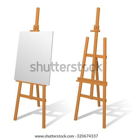 Wooden easel on a white background. - stock vector