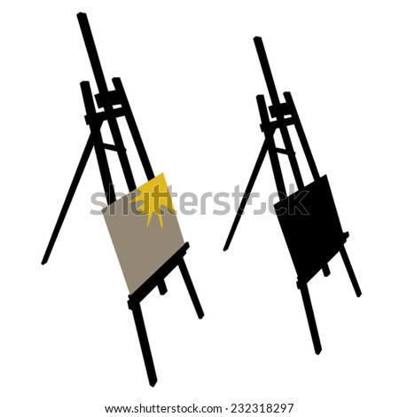 Wooden easel silhouette - stock vector