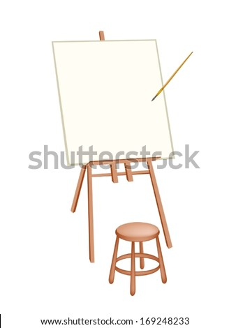 Wooden Easel with Blank Canvas and Craft Paintbrush or Artist Brush for Paint and Draw A Picture.  - stock vector