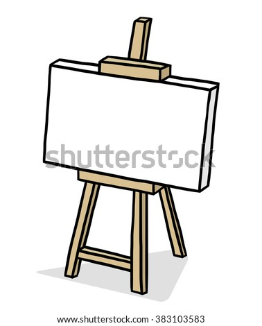wooden easel with blank canvas / cartoon vector and illustration, hand drawn style, isolated on white background. - stock vector