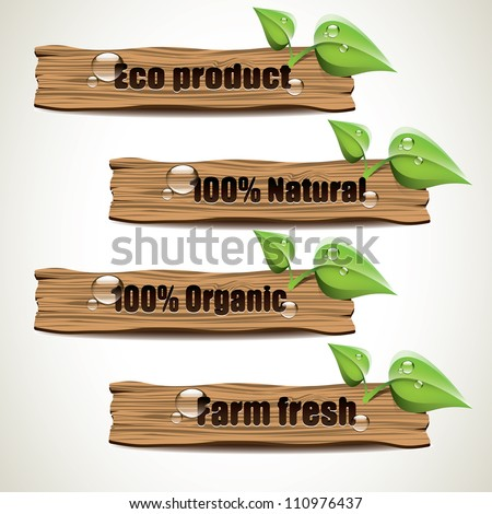 Wooden Eco signs - stock vector