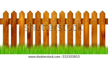 Wooden fence and grass - isolated on white background. Vector illustration. - stock vector