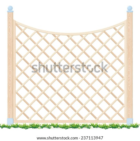 Wooden fence and grass - Vector illustration.  - stock vector