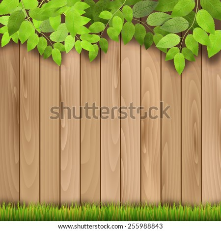Wooden fence, grass and tree branch - vector illustration - stock vector
