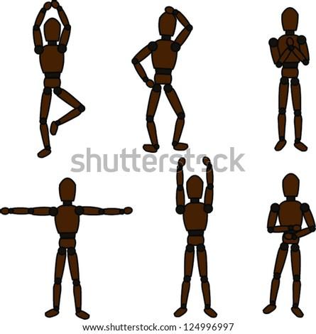 Wooden figure - stock vector