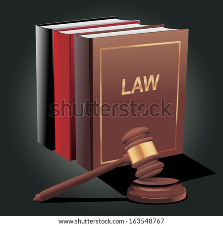 Wooden gavel and law books - stock vector