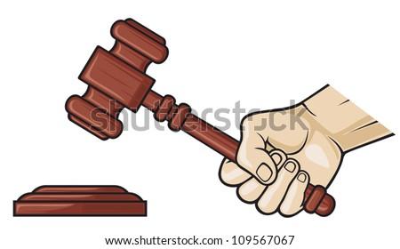 wooden gavel in hand (hand holding judge's gavel, gavel, hammer of judge or auctioneer, judge gavel) - stock vector