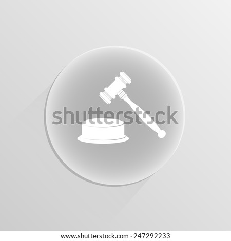 Wooden gavel on a white button with shadow - stock vector