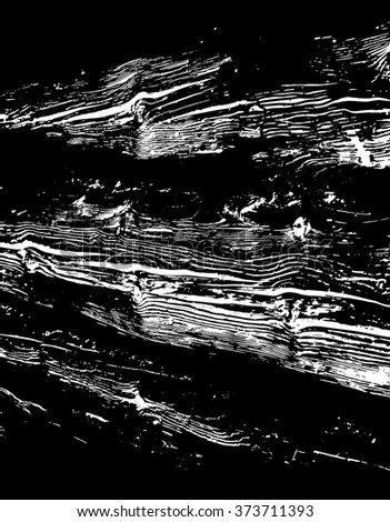 Wooden grungy lines texture background in black and white - stock vector