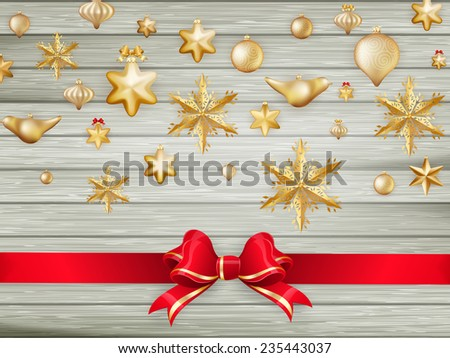 Wooden Holiday background candy and New Year's balls. EPS 10 vector file included - stock vector