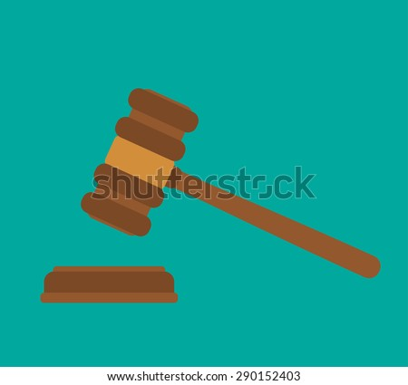 Wooden Judge gavel - flat style - stock vector