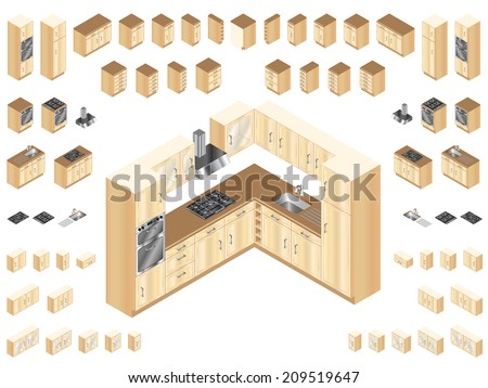 Wooden kitchen design elements. Large selection of isometric kitchen units for room layout and design.  - stock vector