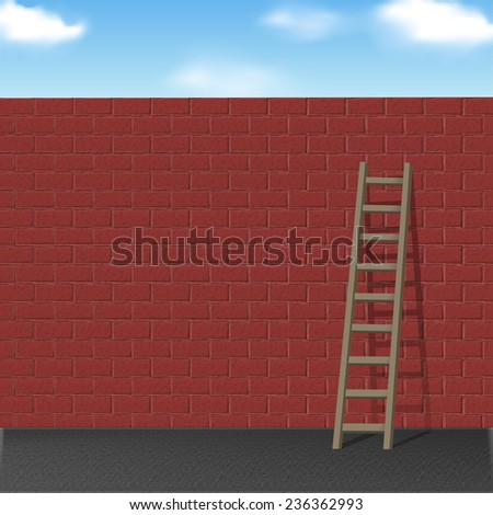 wooden ladder leans on red brick wall over blue sky - stock vector