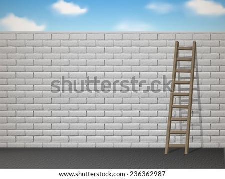 wooden ladder leans on white brick wall over blue sky - stock vector