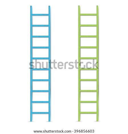 wooden ladder, vector illustration - stock vector