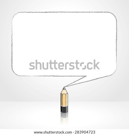 Wooden Lead Pencil with Reflection Drawing Tinted Quotation Marks in Rectangular Speech Bubble on White Background - stock vector