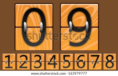 Wooden Mechanical Scoreboard - stock vector