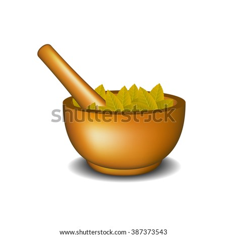 Wooden mortar with pestle and brown leaves  - stock vector