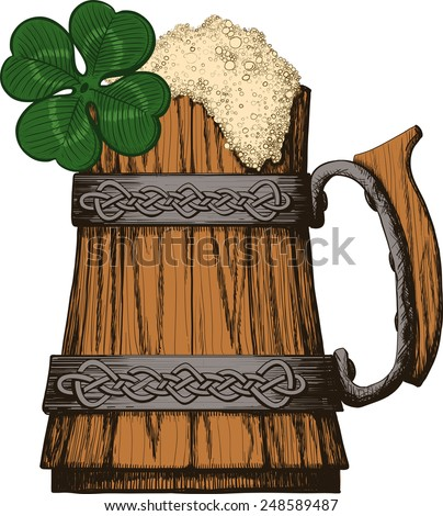 Wooden mug of beer with foam Irish, Celtic pattern. four leaf clover - stock vector