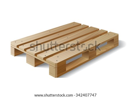 Wooden pallet. Isolated on white. Vector illustration - stock vector