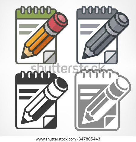 Wooden pencils and paper notepads colored, vector illustration - stock vector