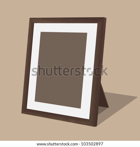 Wooden photo frame. Vector illustration. - stock vector