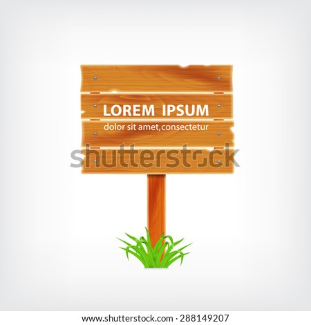Wooden plank with grass. Background with wooden plank. EPS10 vector - stock vector