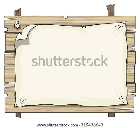 Wooden planks sign, with old paper attached to it, with space for your message, vector illustration - stock vector
