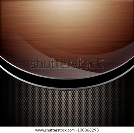 Wooden polished background combine with metallic perforated background - stock vector