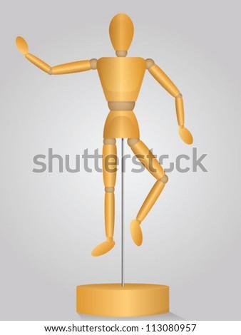 Wooden Pose Mannequin - stock vector