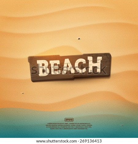 Wooden realistic beach sign on a sand texture - stock vector