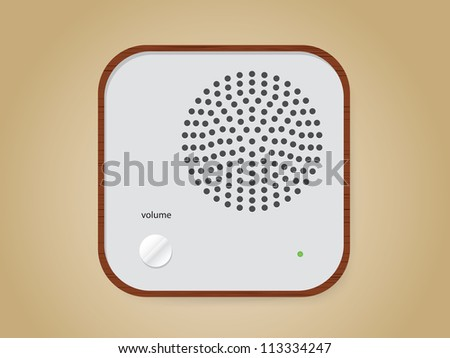 Wooden retro radio - stock vector
