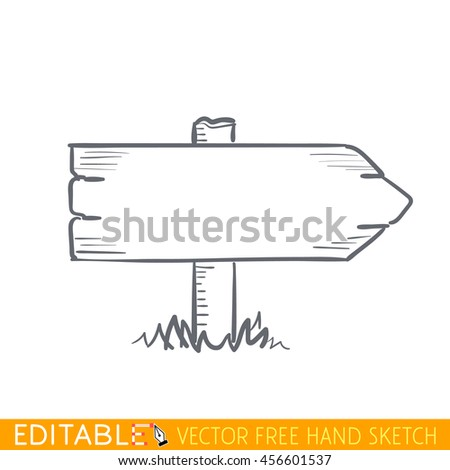 Wooden road pointer. Editable vector icon in linear style. - stock vector