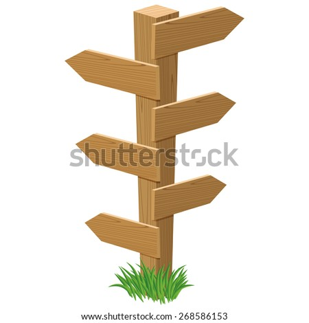 wooden road sign in cartoon style with empty tables which can be used for your own text - stock vector