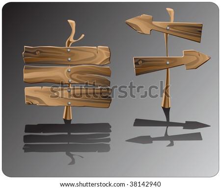 wooden road signs - stock vector