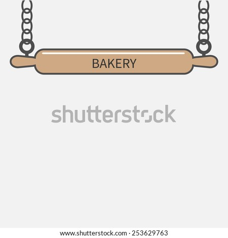 Wooden rolling pin plunger hanging on chain. Bakery signboard Flat design Vector illustration - stock vector