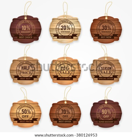 Wooden sale  discount  banners, stickers, labels collection -  special offer, big sale, half price, best buy, hot price, discount and percentages, price off, banner. Retro vintage style vector. - stock vector