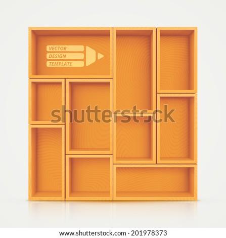 Wooden shelves for design, eps 10 - stock vector
