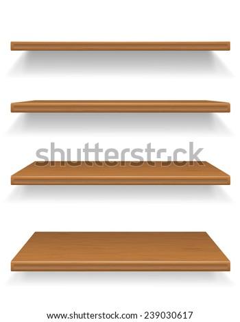 wooden shelves vector illustration isolated on white background - stock vector