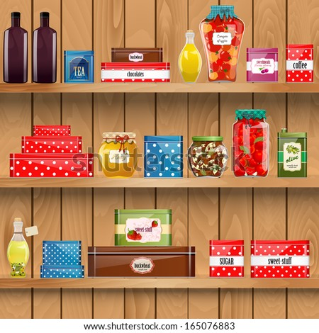 wooden shelves with  organic food - stock vector