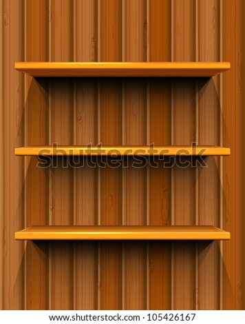 Wooden shelves with place for your exhibits, seamless wooden background, vector illustration, eps10, 2 layers, easy editable - stock vector